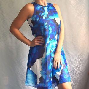 NWT Calvin Klein Blue Floral Sleeveless Dress
